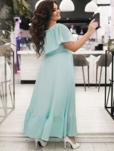 Длинное нарядное длинное платье на запах на тонких бретелях