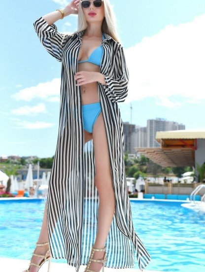 Пляжная шифоновая туника рубашка в пол в полоску с разрезами, фото 1