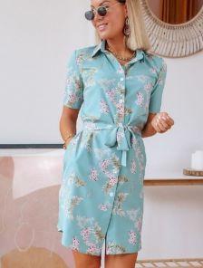Летнее голубое короткое платье рубашка с цветочным принтом на пуговицах