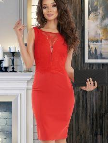 Красное летнее коктейльное короткое кружевное платье
