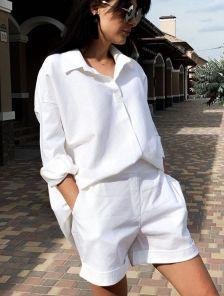 Женский летний белый костюм рубашка с шортами