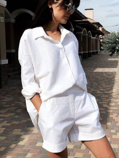 Женский летний белый костюм рубашка с шортами, фото 1