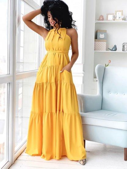 Желтое нарядное платье А-силуэта в пол с карманами, фото 1