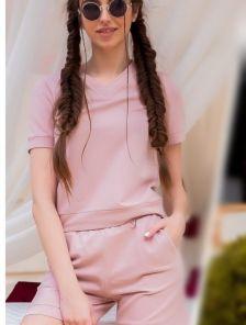 Женский летний светлый костюм топ с шортами