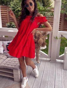 Короткое красное хлопковое платье на лето под кеды или шлепанци