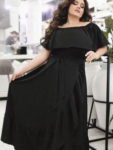Летнее черное нарядное длинное платье на запах на тонких бретелях