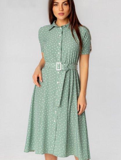 Летнее зеленое короткое платье рубашка в горошек на короткий рукав, фото 1