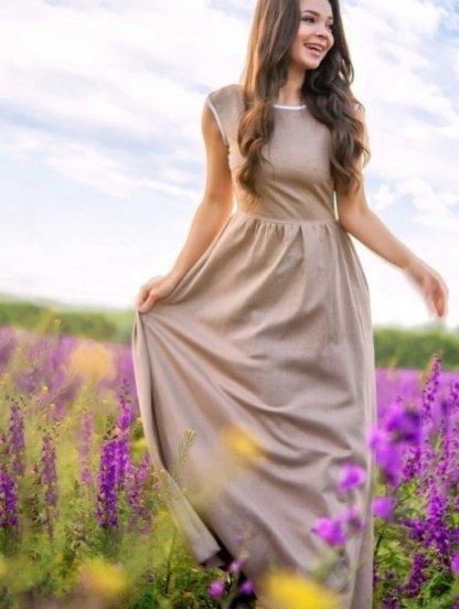 Легкое светлое длинное платье из льна на лето, фото 1