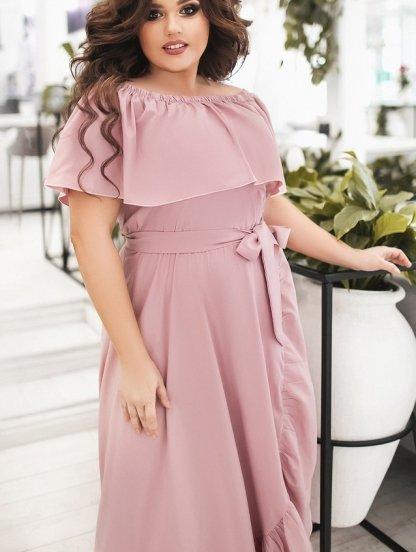 Светлое длинное летнее платье большого размера с воланом и оборкой, фото 1