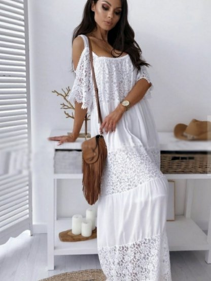 Белое длинное хлопковое платье с кружевом, фото 1