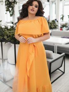 Летнее светлое нарядное длинное платье большого размера