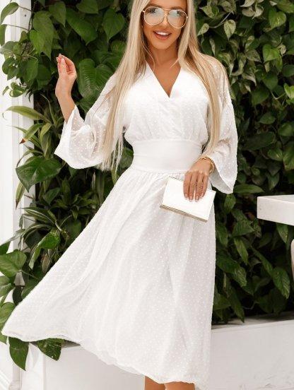 Белое коктейльное нарядное платье миди с рукавом 3/4, фото 1