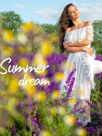 Кружевное белое нарядное платье миди под кеды или кроссовки, фото 1
