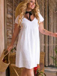 Короткое белое свободное платье из прошвы большого размера на лето