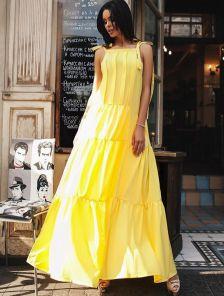Желтое нарядное платье А-силуэта в пол с карманами