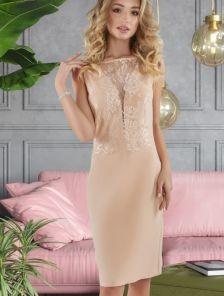 Золотое летнее коктейльное короткое кружевное платье