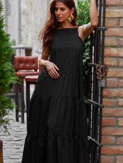 Черное летнее платье А-силуэта в пол с карманами, фото 1