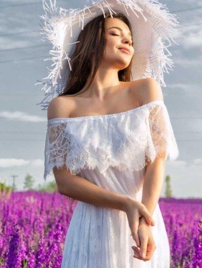 Кружевное белое нарядное платье в пол под кеды или кроссовки, фото 1