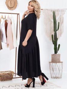 Летнее черное свободное платье макси на короткий рукав