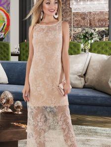 Нарядное светлое вечернее длинное платье с кружевом