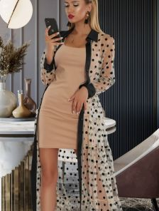 Костюм двойка: Стильное нарядное платье и сетка в горошек