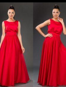 Потрясающее длинное платье насыщенного красного цвета под пояс