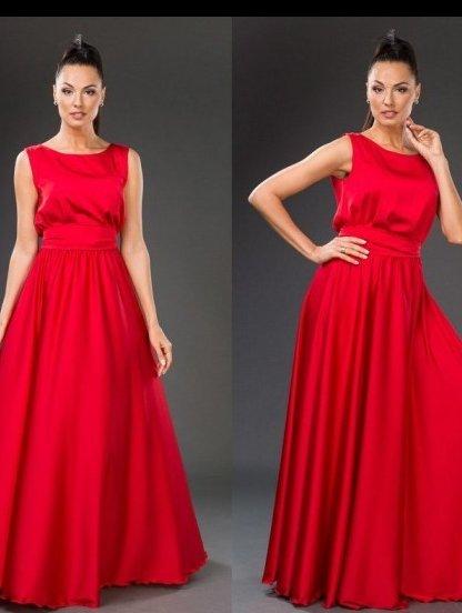 Потрясающее длинное платье насыщенного красного цвета под пояс, фото 1