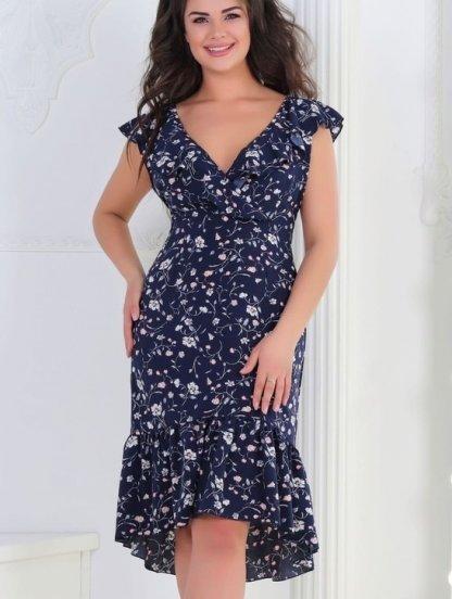 Легкое платье темно-синего цвета с цветочным принтом, фото 1