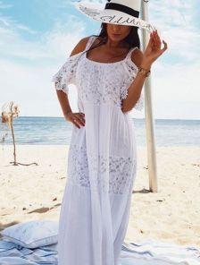 Белое длинное хлопковое платье с кружевом