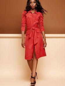 Красное платье кардиган на пуговицах