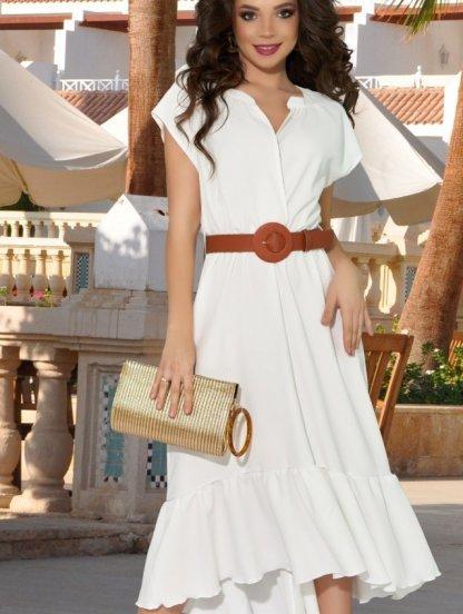Короткое белое летнее асимметричное платье с оборкой на лето, фото 1