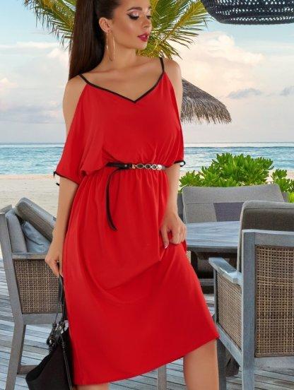 Красное короткое летнее платье А-силуэта с открытыми плечами, фото 1