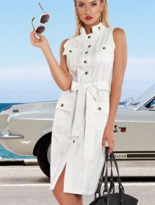 Белое летнее льняное короткое платье на пуговицах