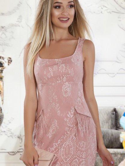 Светлое летнее коктейльное короткое кружевное платье, фото 1