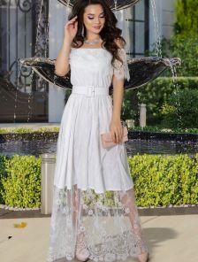 Кружевное белое нарядное платье в пол под кеды или кроссовки