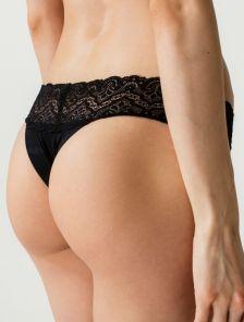 Черные женские гладенькие трусы стринги с кружевом