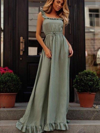 Летнее длинное платье цвета хаки с открытыми плечами в горошек, фото 1
