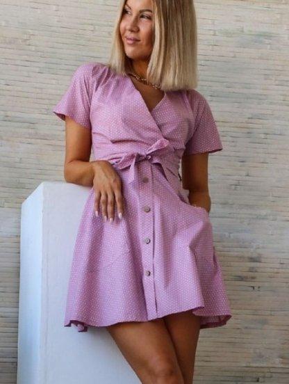Сиреневое летнее платье в горошек с карманами, фото 1