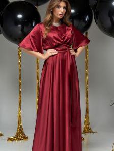 Нарядное длинное платье большого размера с коротким рукавом