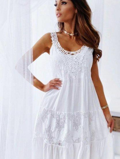 Белое хлопковое короткое платье с вставками кружева, фото 1
