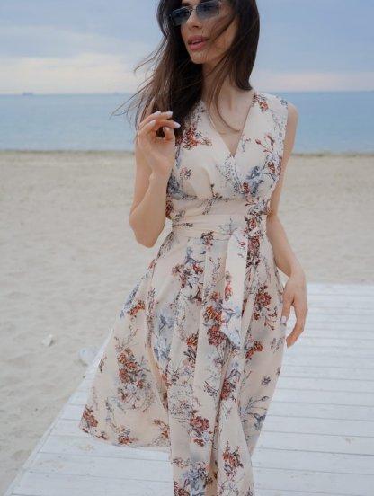Бежевое короткое платье с цветочным принтом большого размера, фото 1