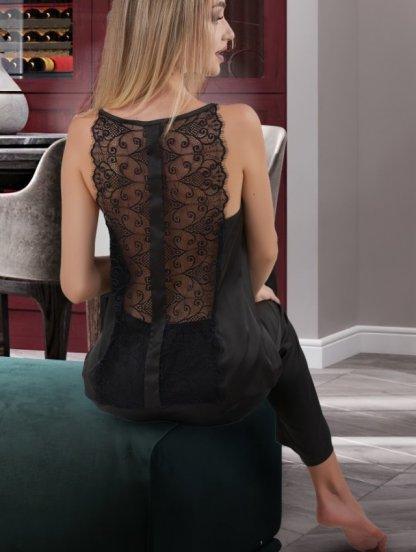 Черный женский шелковый комплектс кружевом пижама со штанами, фото 1