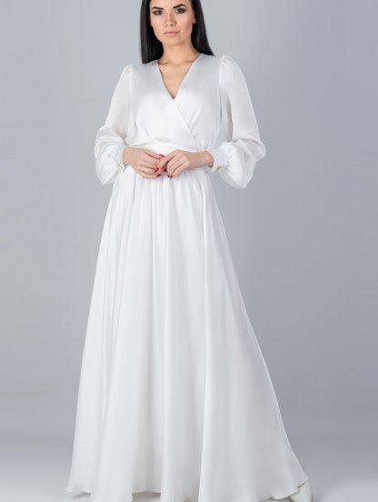 Вечернее белое платье с рукавом, фото 1