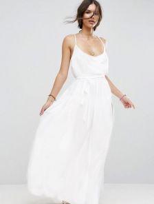 Вечернее шелковое белое платье в пол разрезом