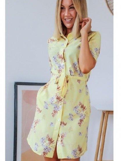 Летнее желтое короткое платье рубашка с цветочным принтом на пуговицах, фото 1