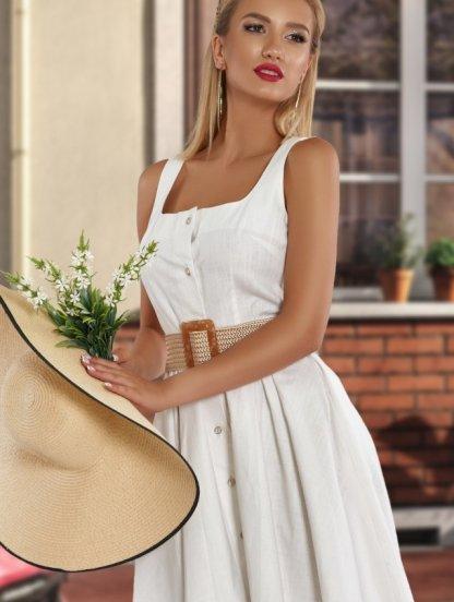 Короткое белое льняное платье на пуговицах и широких бретелях, фото 1