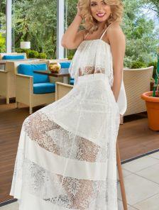 Нарядный летний белый костюм топ и юбка с нежным кружевом