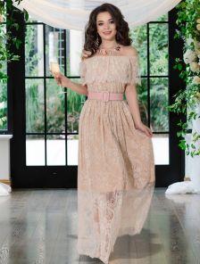 Кружевное длинное светлое нарядное платье в пол под кеды или кроссовки