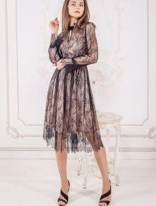 Нарядное коктейльное кружевное платье на длинный рукав