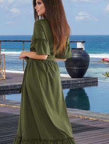 Темно-зеленое длинное летнее платье с рюшами